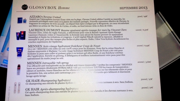 glossybox homme septembre 2013 / 5