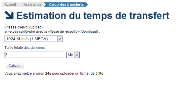 Estimation du temps de transfert